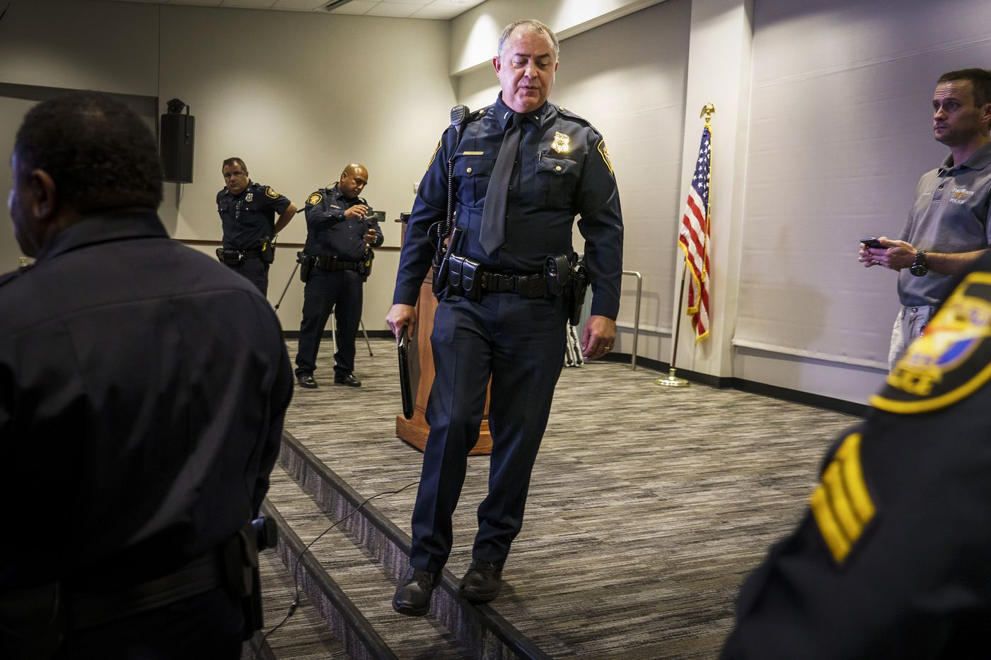Fort Worth police Lt. Brandon OÕNeil departs after addressing a news conference regarding the shooting of Atatiana Jefferson at the Bob Bolen Public Safety Complex on Sunday, Oct. 13, 2019, in Fort Worth.