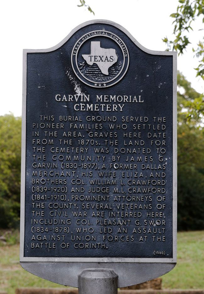 Garvin Memorial Cemetery located at 4000 W. Northwest Highway in Dallas, Texas is for sell. It's an official-city-landmark cemetery where many Confederate vets are buried. Photo taken on Tuesday, September 10, 2017. (David Woo/The Dallas Morning News)