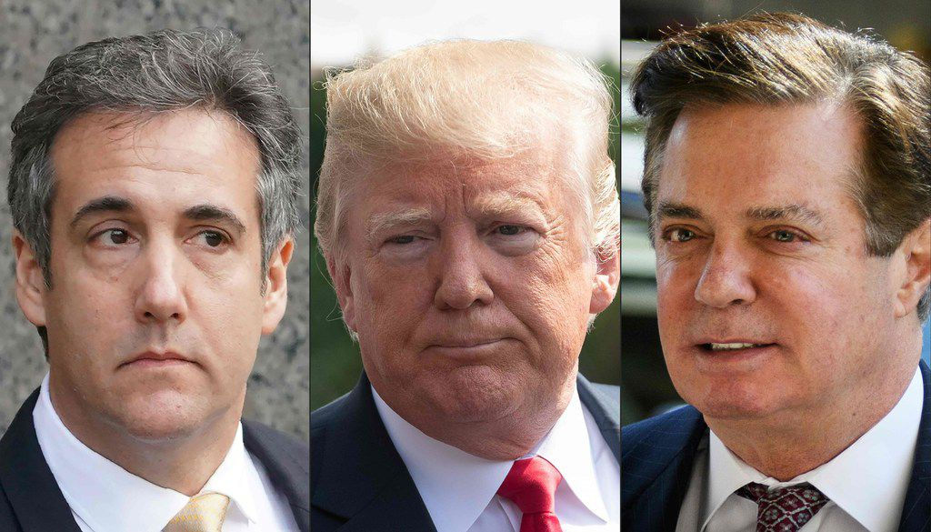 Michael Cohen (left), former personal lawyer for President Donald Trump, pleaded guilty to several charges Tuesday, while former Trump campaign chairman Paul Manafort (right) was found guilty of federal charges the same day.