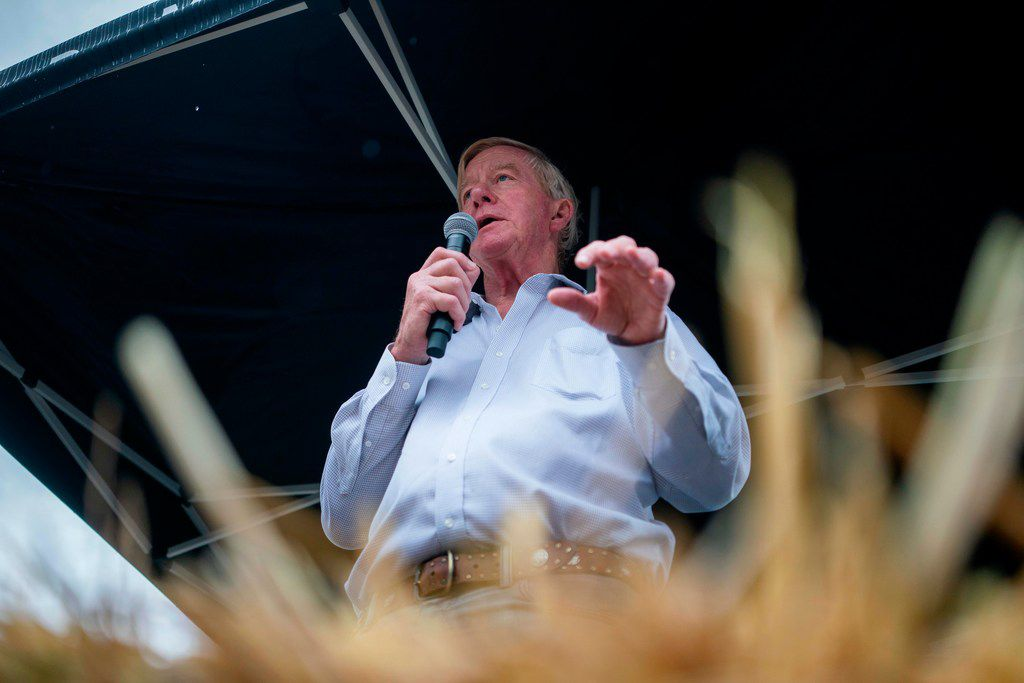 Republican presidential candidate Bill Weld speaks during a visit to the Iowa State Fair on August 11, 2019 in Des Moines.