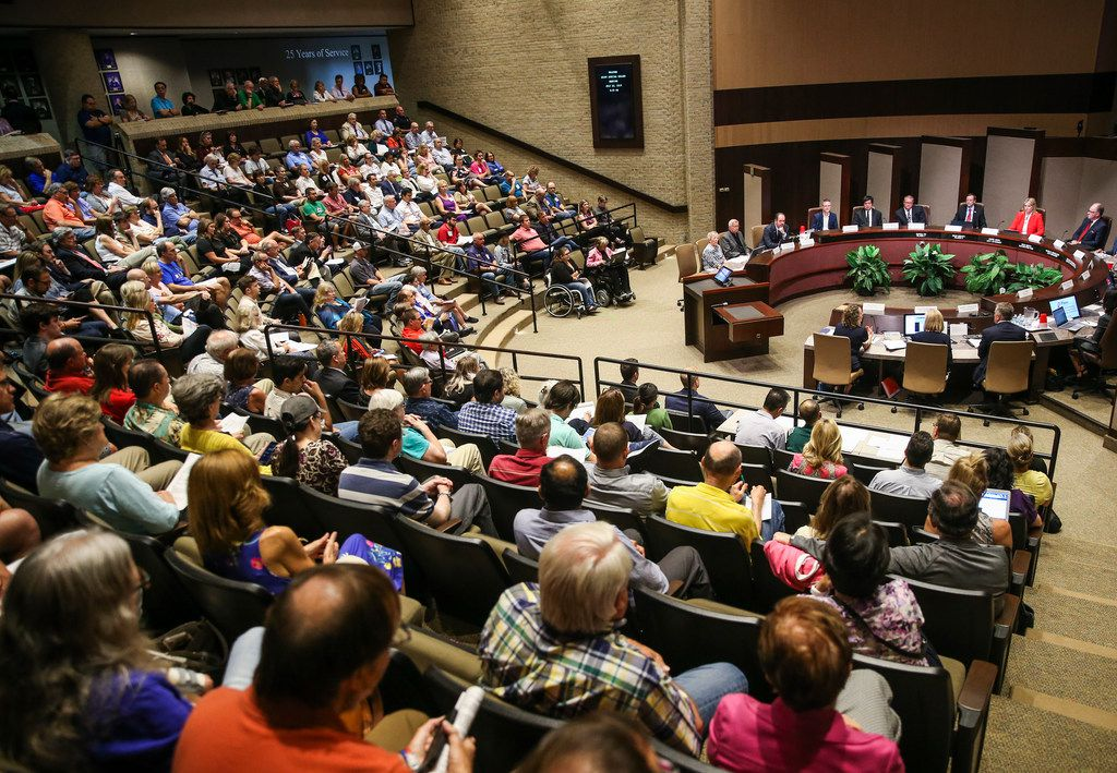 A large audience looked on during a joint meeting of the Plano City Council and the Planning and Zoning Commission on Monday in Plano. The joint hearing was an opportunity for residents to comment on the controversial Plano Tomorrow master development plan.