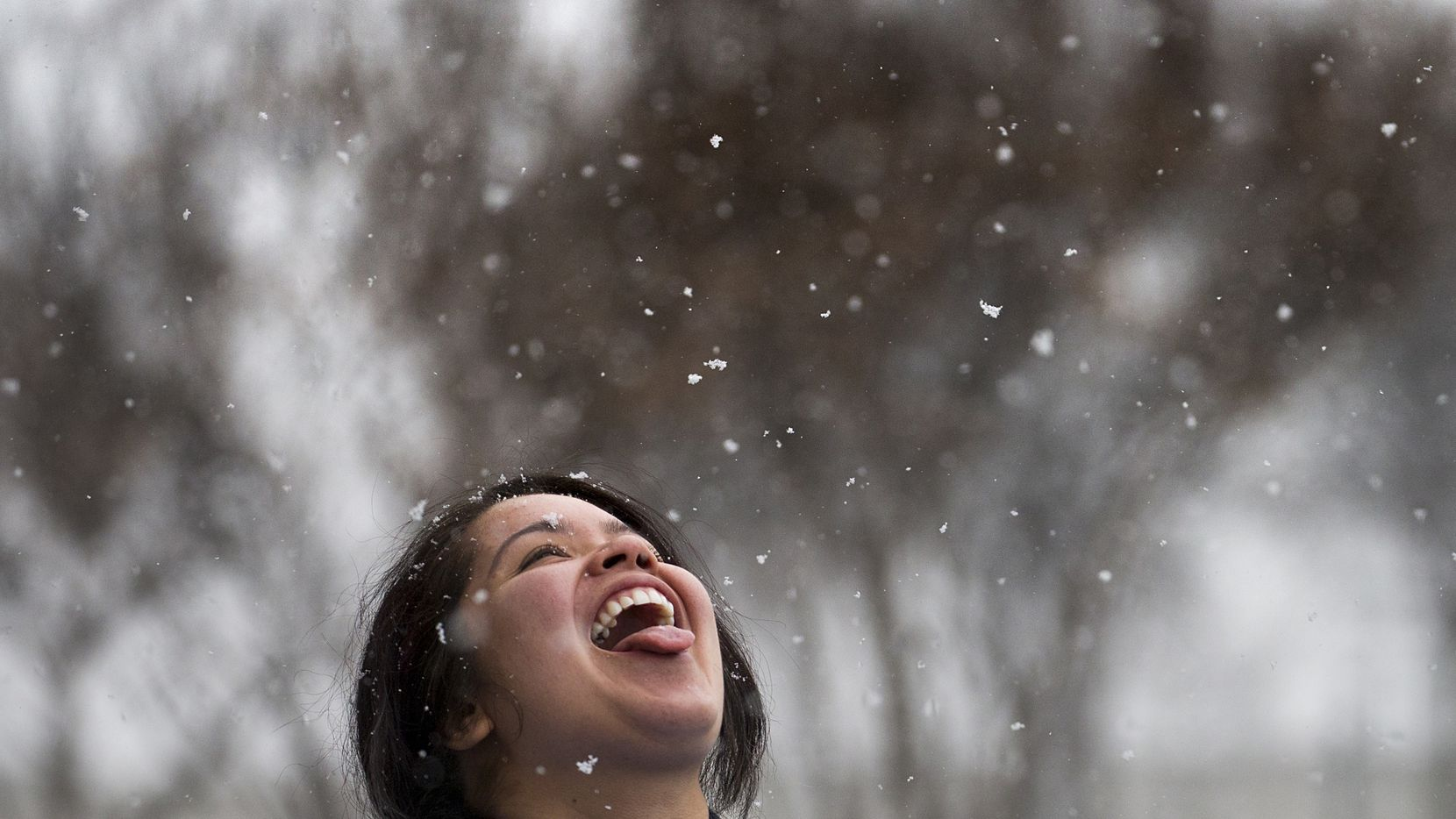 Racene Mendoza stepped outside her job at a Richardson bakery to try catching snowflakes in early January 2017.