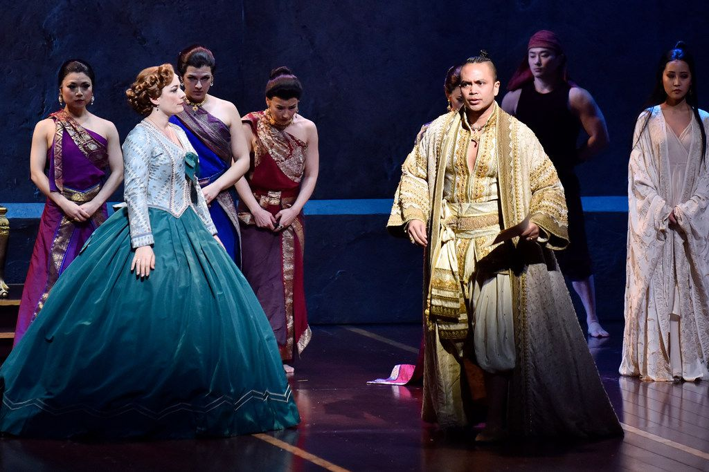 Anna Leonowens (Laura Michelle Kelly), left, and King of Siam (Jose Llana), in the Lincoln Center Theater production of Rodgers & Hammerstein's The King and I, directed by Bartlett Sher, part of the AT&T Performing Arts Center Broadway Series at the Winspear Opera House in downtown Dallas.