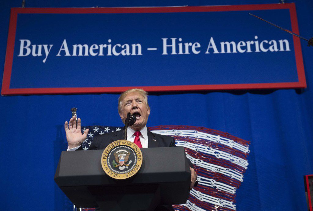 President Donald Trump speaks after touring Snap-On Tools in Kenosha, Wis., April 18, 2017, prior to signing the Buy American and Hire American executive order.