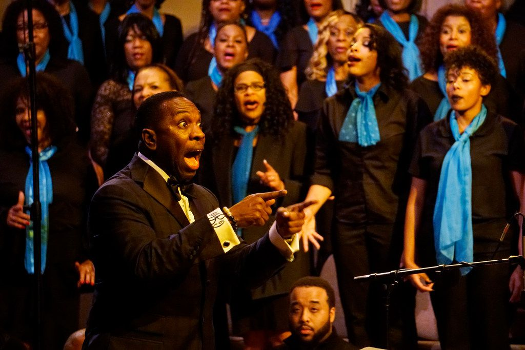 """Clark Joseph directs the 200-member choir during the """"Black Music and the Civil Rights Movement Concert"""" at the Morton H. Meyerson Symphony Center in Dallas on Jan. 14."""