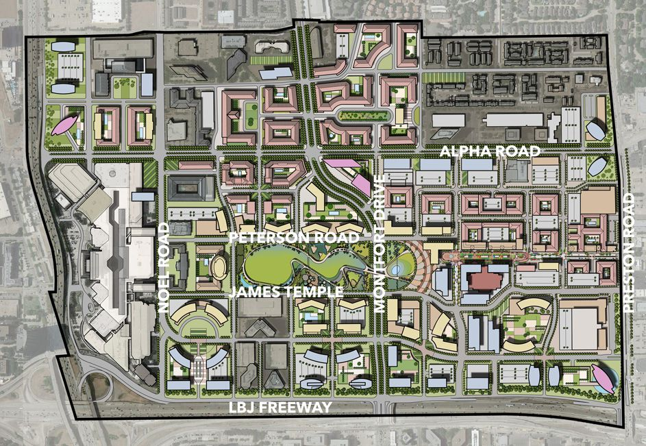 Proposed new streets and development of a larger region called the Midtown District that includes Valley View Center on the east side and Galleria Dallas on the west. Valley View Center, built in 1973, will be scraped.