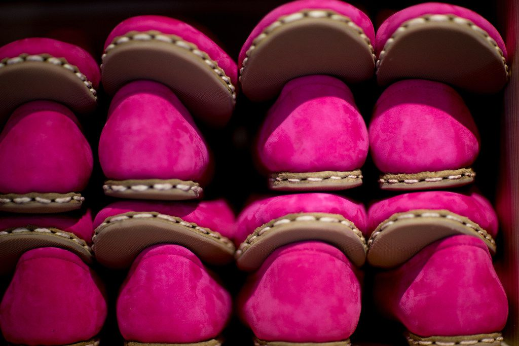 Hot pink Sabahs at the Sabah House on Routh Street in Dallas. The slippers have rubber soles for durability.
