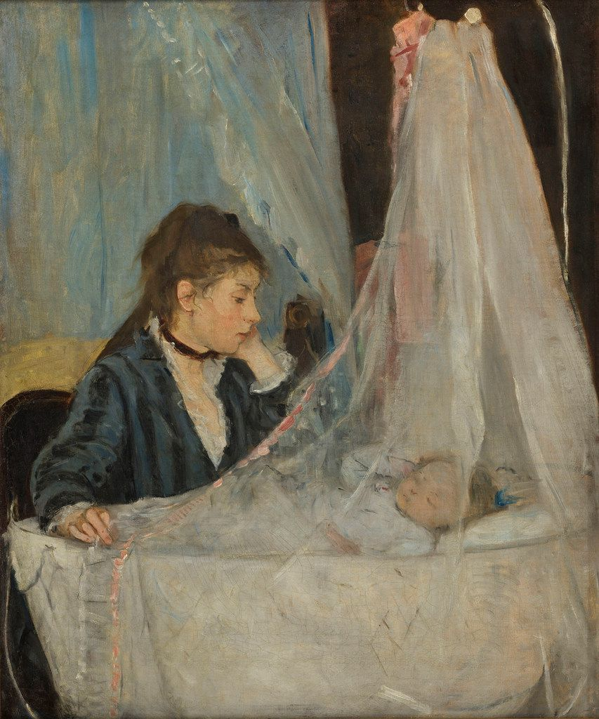 Berthe Morisot's The Cradle, an 1872 oil-on-canvas piece, is included in the Dallas exhibition.