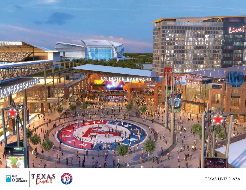 An artist's rendering shows the planned Texas Live! plaza adjacent to a new Rangers ballpark (left). (The Cordish Cos.)