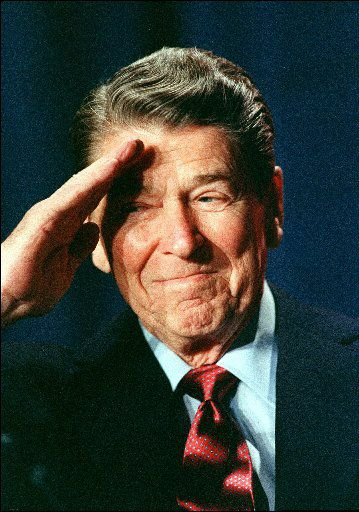 President Ronald Reagan salutes members of the Reserve Officers Association