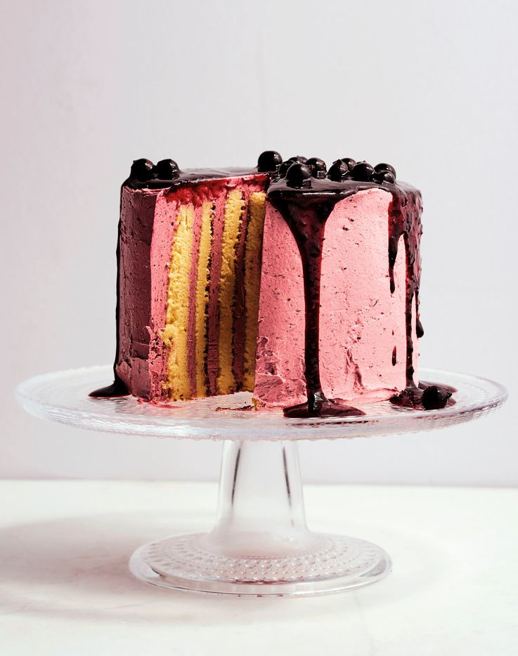 Lemon and Blackcurrant Stripe Cake from Sweet: Desserts  from  London's  Ottolenghi