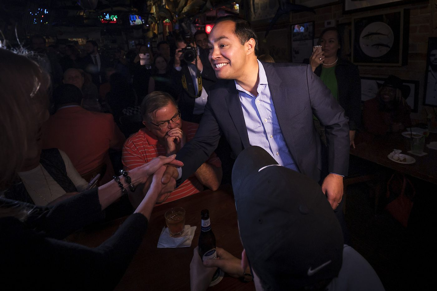 Presidential candidate Julian Castro arrives for a campaign event at St. Pete's Dancing Marlin in Deep Ellum on Tuesday, March 19, 2019, in Dallas.