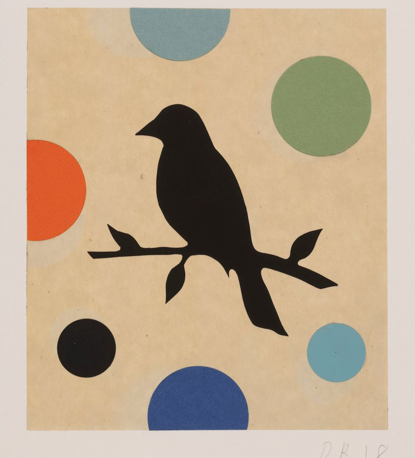 Dan Rizzie's 'Bird on a Blade,' 2018, acrylic collage on Japanese paper.