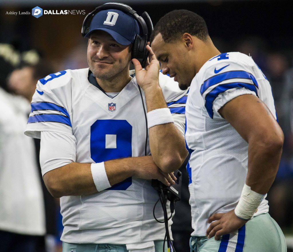 Dallas Cowboys quarterback Tony Romo (9) and quarterback Dak Prescott (4) talk on the sideline during the second quarter of their game against the Baltimore Ravens on Sunday, November 20, 2016 at AT&T Stadium in Arlington, Texas.  (Ashley Landis/The Dallas Morning News) ORG XMIT: DMN1611201355263323