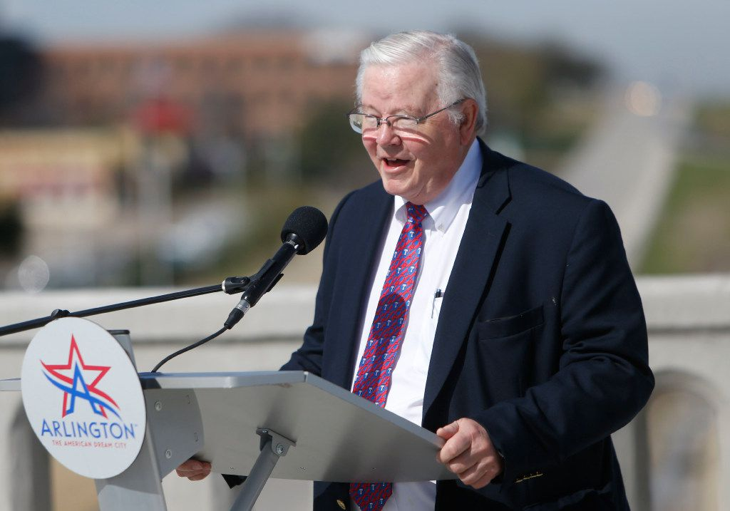 """Congressman Joe Barton speaks during a ribbon cutting for the new Center Street Bridge in Arlington, Texas on Friday, March 3, 2017. Barton told an angry town hall attendee in Frost to """"shut up"""" in a raucous encounter. (Rose Baca/The Dallas Morning News)"""