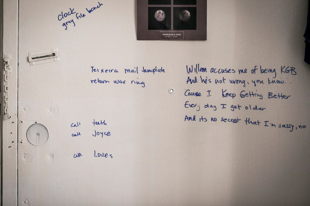 Michelle Shocked's door with working lyrcis jotted down. Photographed at her home in New York.