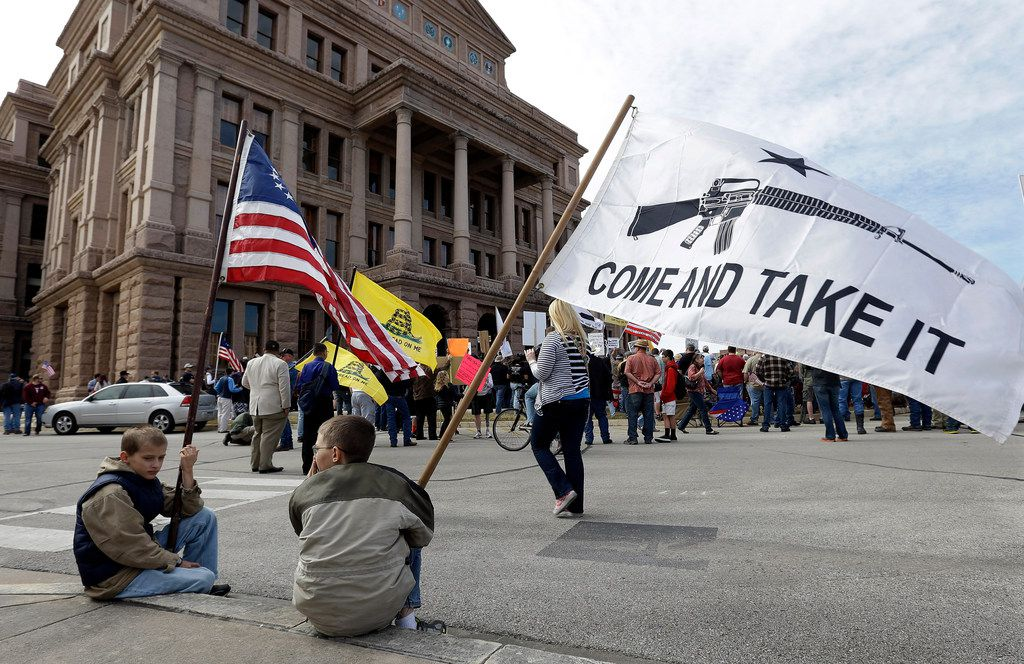 Gun rights supporters gather at a Guns Across America rally at the Texas Capitol in January 2013.