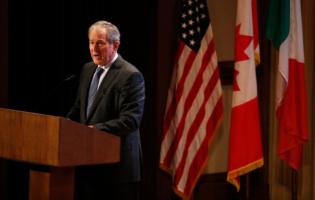 Former President George W. Bush speaks during the 2016 North American Strategy for Competitiveness (NASCO) Continental Reunion at George W. Bush Presidential Center in Dallas on Nov. 15, 2016. (Jae S. Lee/Staff Photographer)