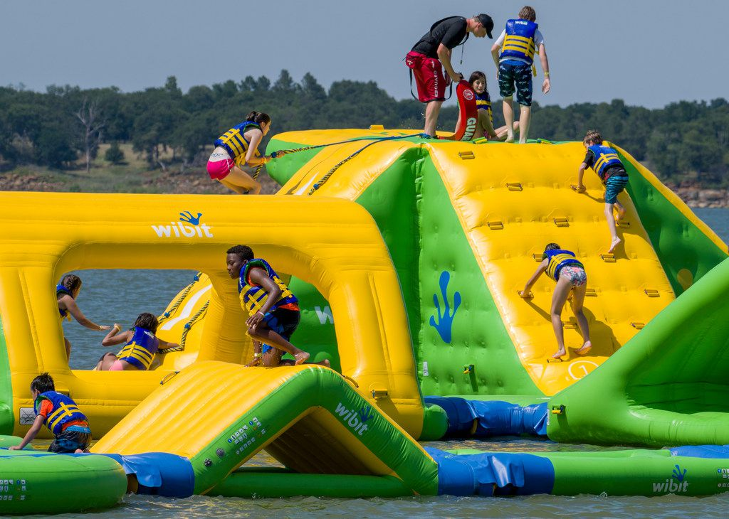 """The self-proclaimed """"largest floating water park in Texas"""" will be open until Sept. 3."""