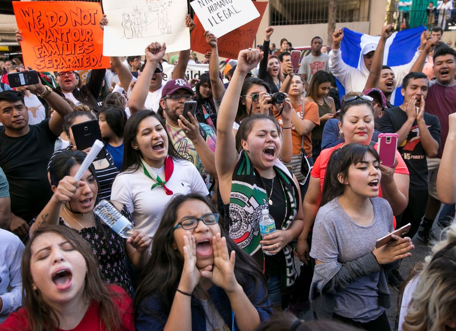 """Hundreds turned out in February in Austin as part of the """"A Day Without Immigrants"""" demonstration. Immigrants around the U.S. stayed home from work and school to demonstrate how important they are to America's economy, and many businesses closed in solidarity."""