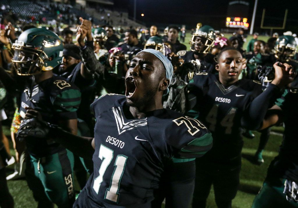 Leroy Hawkins celebrates after the Eagles' 40-21 win over Mansfield Summit at Eagle Stadium on Oct. 26. Hawkins was shot and killed while sitting in a car in downtown Dallas.