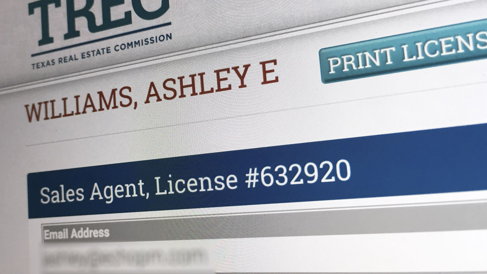 In one of the biggest fines in its history, the Texas Real Estate Commission proved a case of negligence against real estate sales agent Ashley Elizabeth Williams Creamer. She was fined $122,000. (In this image from the regulators' website, her email address has been blurred out for privacy.)