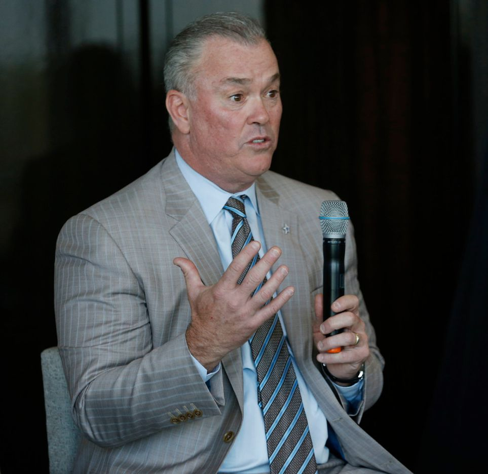 Dallas Cowboys executive vice president Stephen Jones speaks during a panel at the U.S. Conference of Mayors Professional Sports Alliance at The Star in Frisco on April 7.