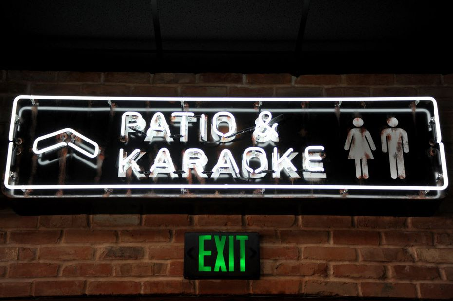 Upstairs features four themed karaoke rooms.