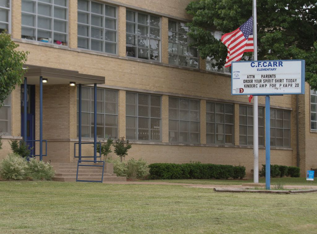 """Early indications are that C. F. Carr Elementary School in west Dallas will be moved off the """"improvement required"""" list. The school was in danger of being closed."""