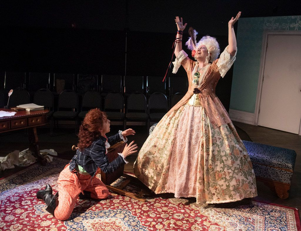 Marianne Galloway (left) as Olympe De Gouges and Jennifer Kuenzer as Marie Antoinette perform a scene from the Imprint Theatreworks' production of  The Revolutionists at the Margo Jones  Theatre in Fair Park. (Rex C. Curry/Special Contributor)