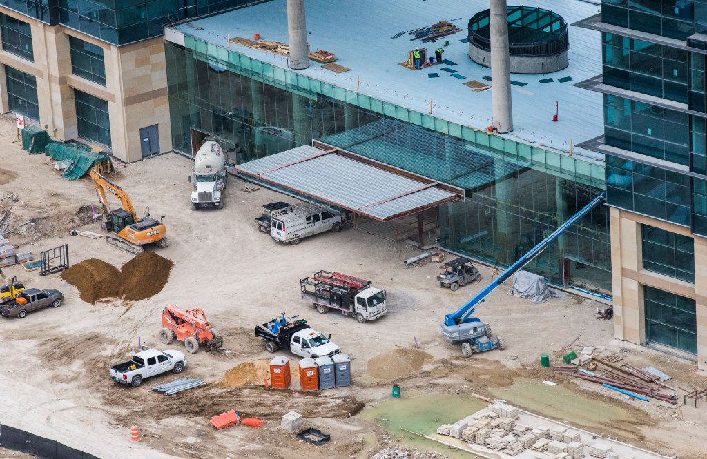 Construction at the new Toyota headquarters as photographed from a helicopter on Wednesday, January 4, 2017 in Plano, Texas. (Ashley Landis/The Dallas Morning News)