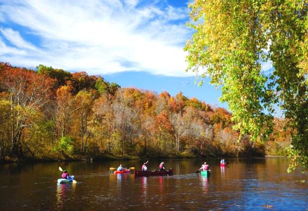The James River provides excellent water for kayaking.