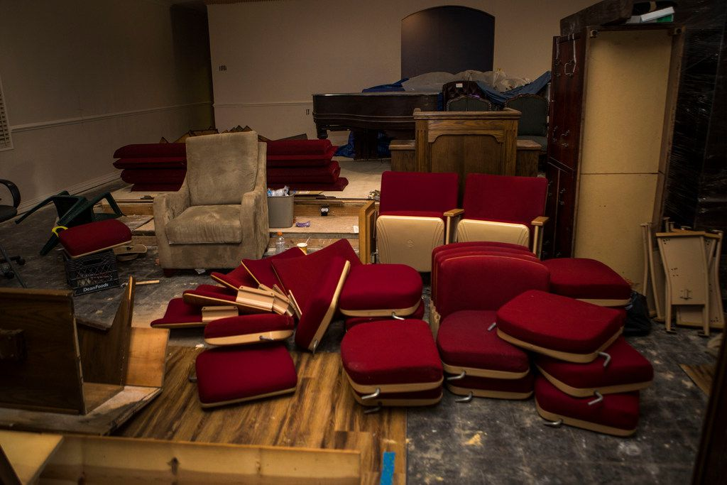 New pews that will replace the 45 year old pews in the sanctuary at First Fellowship Baptist Church in Dallas on July 27, 2018. The church had to be renovated after flooding in January 2018. (Carly Geraci/The Dallas Morning News)