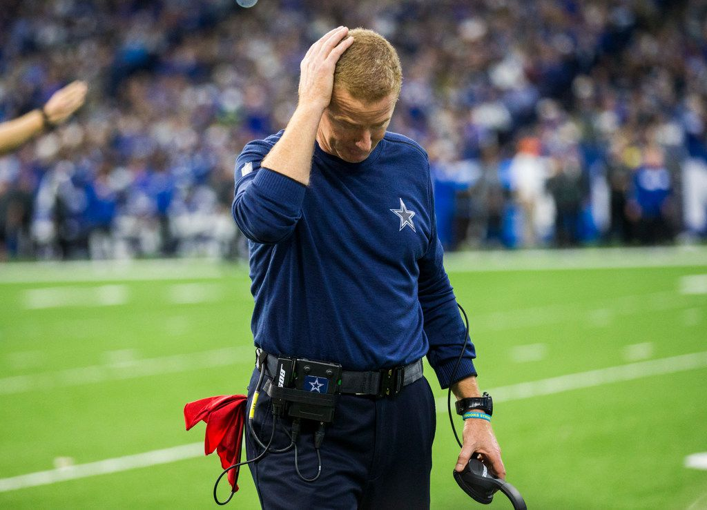 Dallas Cowboys head coach Jason Garrett puts his hand on his head after officials called a play overturning what he thought was an interception during the fourth quarter of an NFL game between the Dallas Cowboys and the Indianapolis Colts on Sunday, December 16, 2018 at Lucas Oil Stadium in Indianapolis, Indiana. (Ashley Landis/The Dallas Morning News)