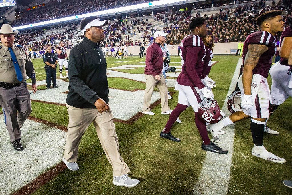 Texas A&M head coach Kevin Sumlin walks off the field after a loss to LSU in an NCAA football game at Kyle Field on Thursday, Nov. 24, 2016, in College Station, Texas.  LSU won the game 54-39. (Smiley N. Pool/The Dallas Morning News)