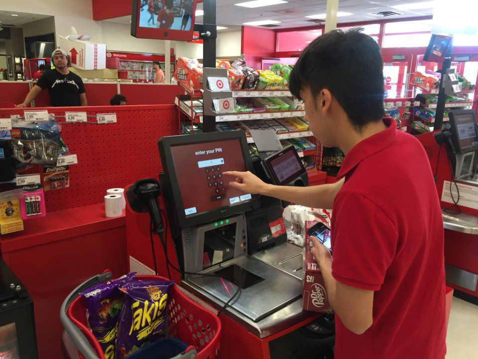 A Target employee checked prices online and manually entered them at a self-checkout kiosk at a Dallas store.