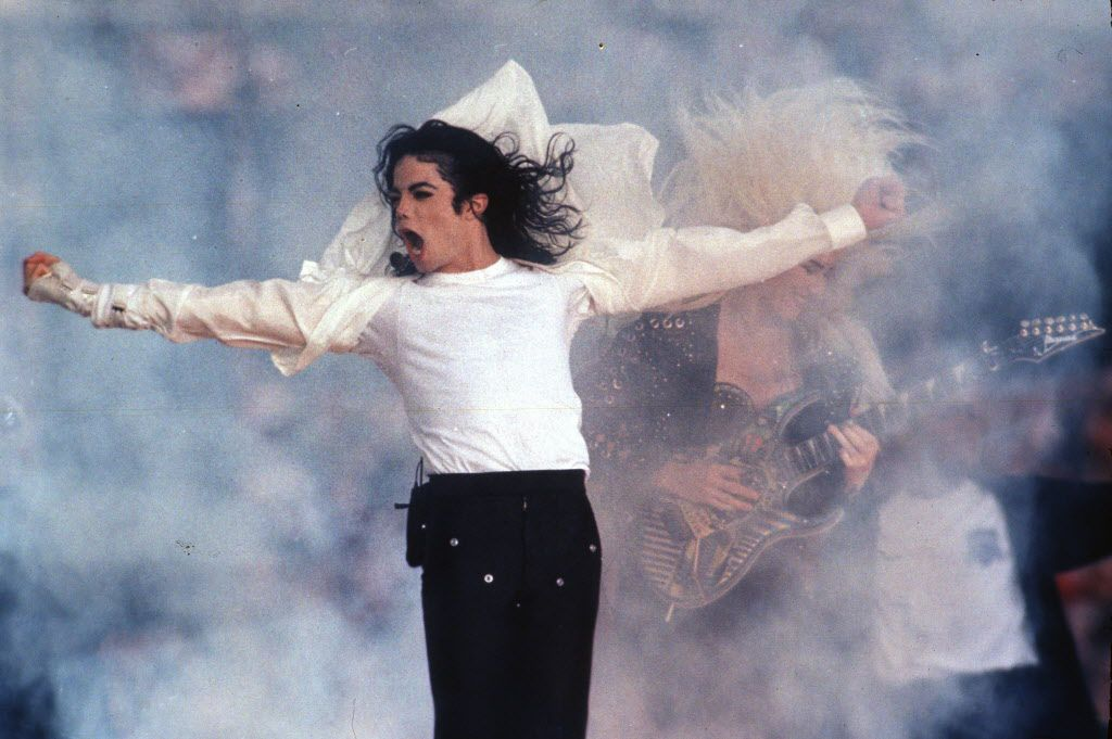 Feb. 1, 1993 file photo shows Pop superstar Michael Jackson performing during the halftime show at the Super Bowl in Pasadena, Calif.