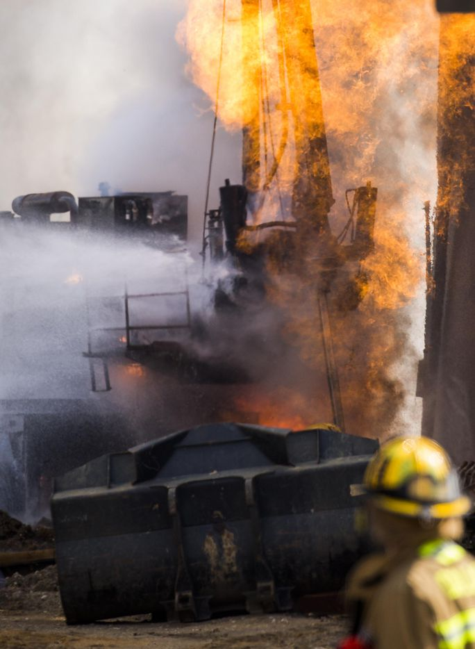 Dallas Fire Rescue responds to the scene of a fire at 2100 Main Street where an unspecified company  struck a gas line on Friday, March 10, 2017, in Dallas.