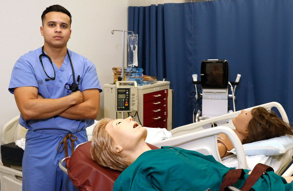Johan Valle, 25, a medical student at the UNT Health Sciences Center, works in the medical education training SIM Lab in Fort Worth. He is among the more than 80,000 Hondurans in the country, including 8,000 in Texas, who are at risk of losing their legal status in the country since the Trump administration has not indicated whether it will renew their countries for a deportation relief program called temporary protected status. (David Woo/Staff Photographer)