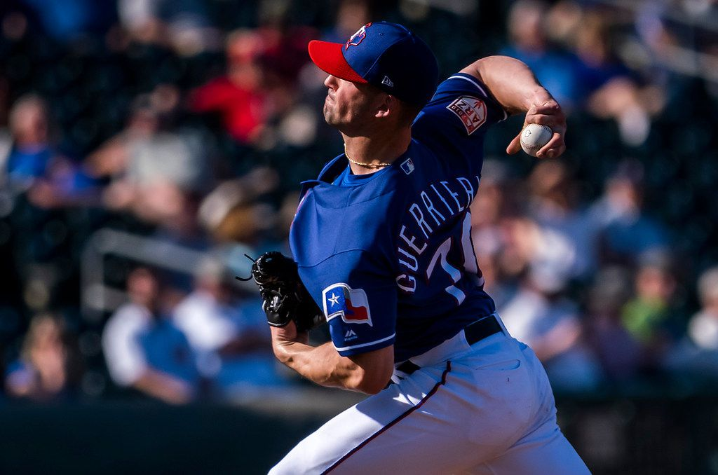 Texas Rangers pitcher Taylor Guerrieri pitches during the ninth inning of a spring training baseball game against the Chicago Cubs on Wednesday, Feb. 27, 2019, in Surprise, Ariz.. (Smiley N. Pool/The Dallas Morning News)