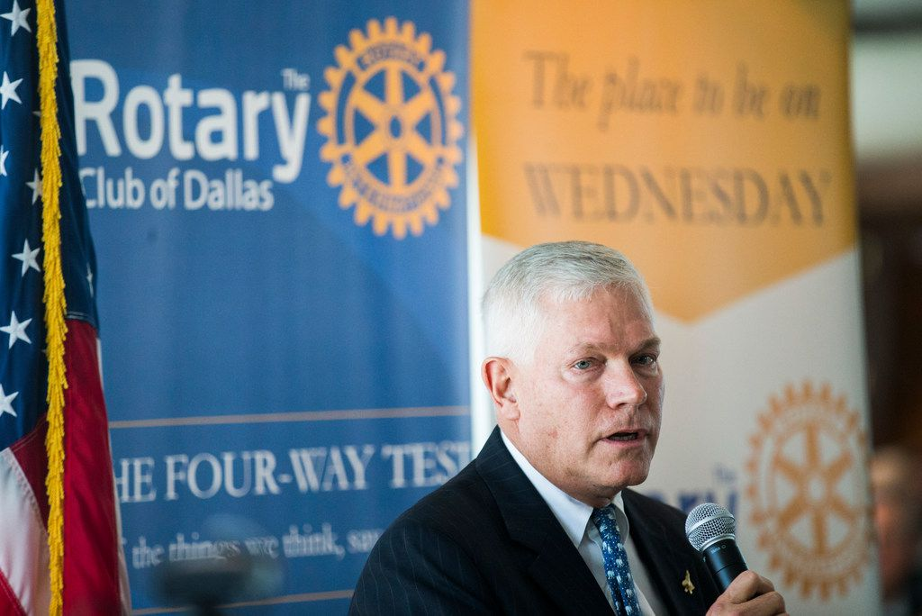 Congressional candidate Pete Sessions debated Colin Allred (not pictured) at a Rotary Club of Dallas lunch on Wednesday, September 19, 2018 at The City Club in downtown Dallas.