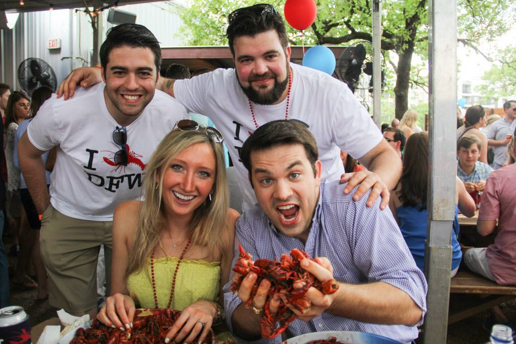 Joe Lafko, Jessi Moreau and Steven Strobl at the Boil for the Brave crawfish boil benefitting Veterans Rehabilitation program was held at The Rustic in Uptown on April 18, 2015