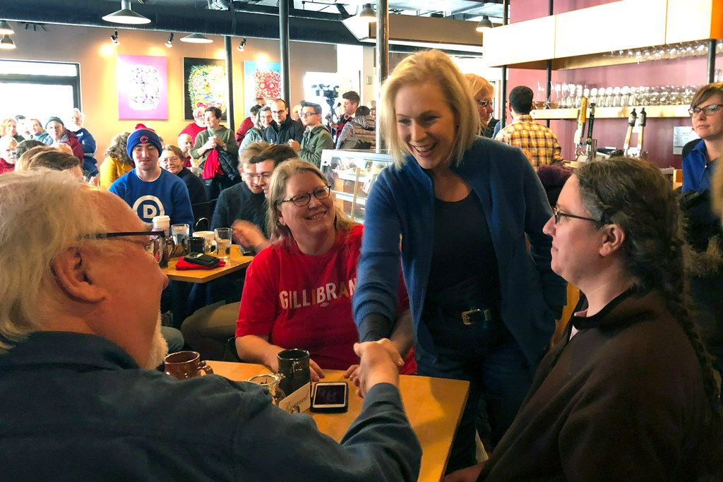 Sen. Kirsten Gillibrand, D-N.Y., greets patrons at Stomping Grounds Cafe in Ames, Iowa, on Jan. 19, 2019. Gillibrand continued her first trip to the lead-off caucus state since announcing the formation of an exploratory committee to seek the 2020 Democratic presidential nomination.
