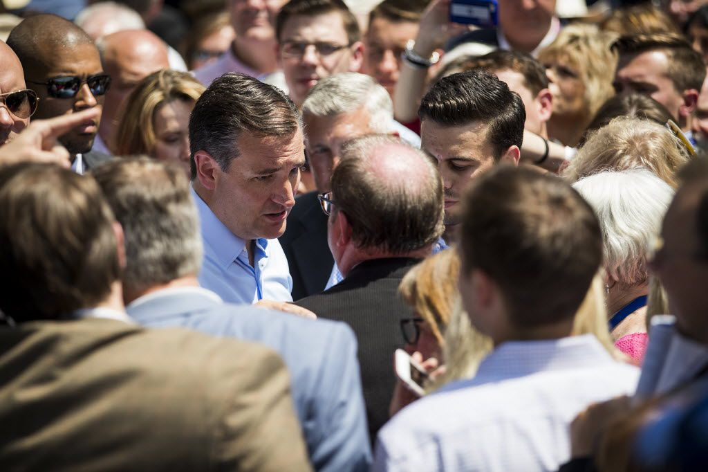 Texas Sen. Ted Cruz chats with supporters during on the third day of the Republican National Convention on Wednesday, July 20, 2016, in Cleveland. (Smiley N. Pool/The Dallas Morning News)