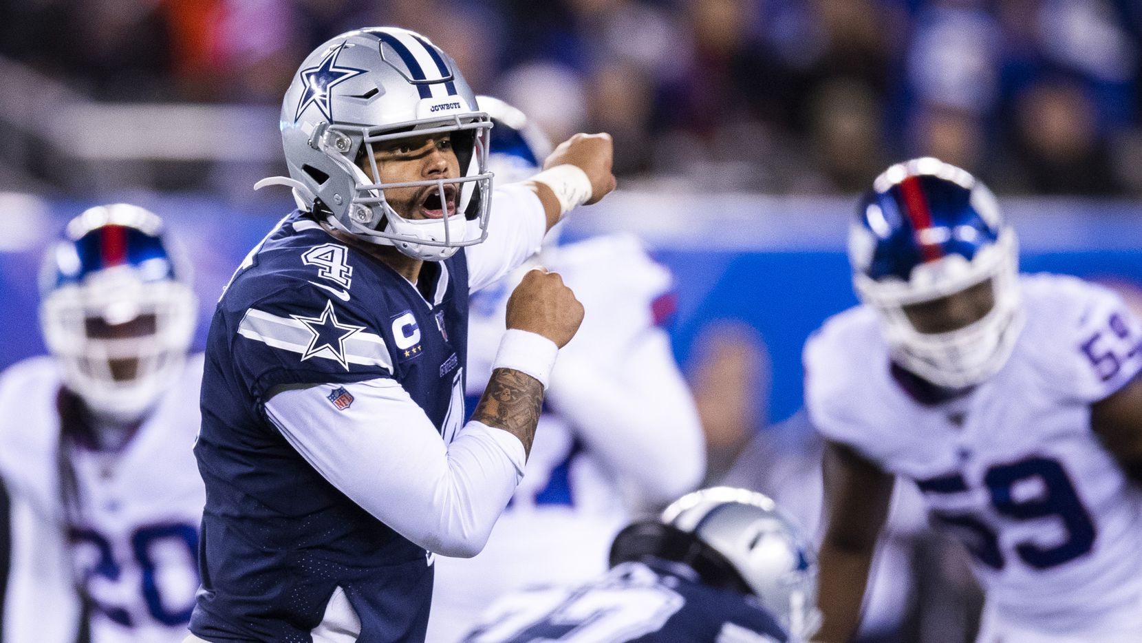 Dallas Cowboys quarterback Dak Prescott (4) shouts a play during the fourth quarter of an NFL game between the Dallas Cowboys and the New York Giants on Monday, November 4, 2019 at MetLife Stadium in East Rutherford, New Jersey.