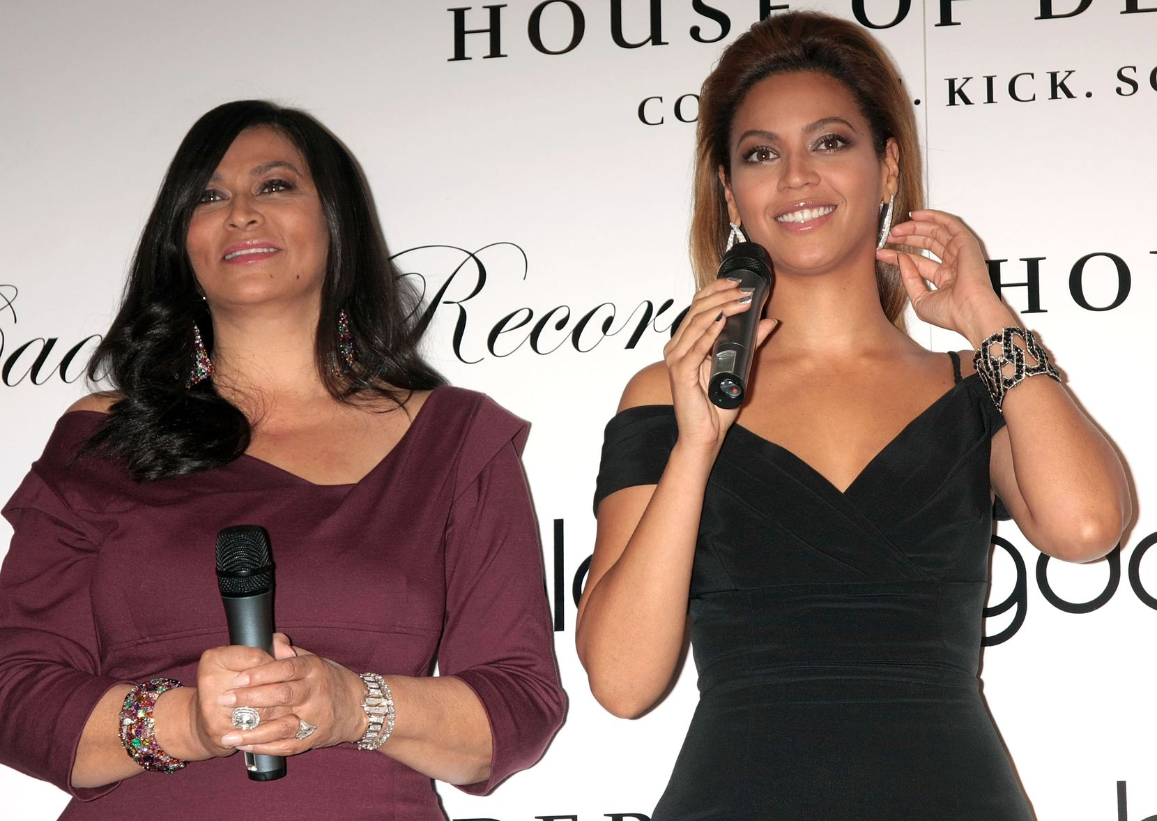 "Tina Knowles (L) and singer Beyonce Knowles promote the new House of Dereon collection inspired by the movie ""Cadillac Records"" at Bloomingdale's on 59th Street on October 28, 2008 in New York City."