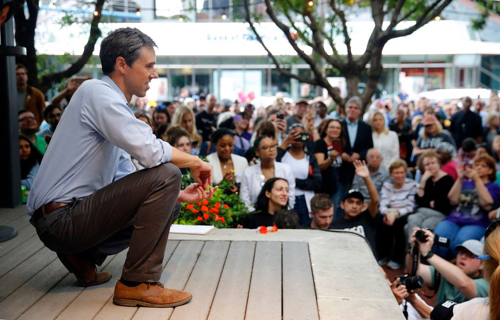 Democratic Presidential candidate Beto O'Rourke listens to a question during a Q&A session following his speech to hundreds of supporters outside The Flying Saucer in downtown Fort Worth on May 3, 2019.  O'Rourke made his first appearance in North Texas since launching his presidential campaign.