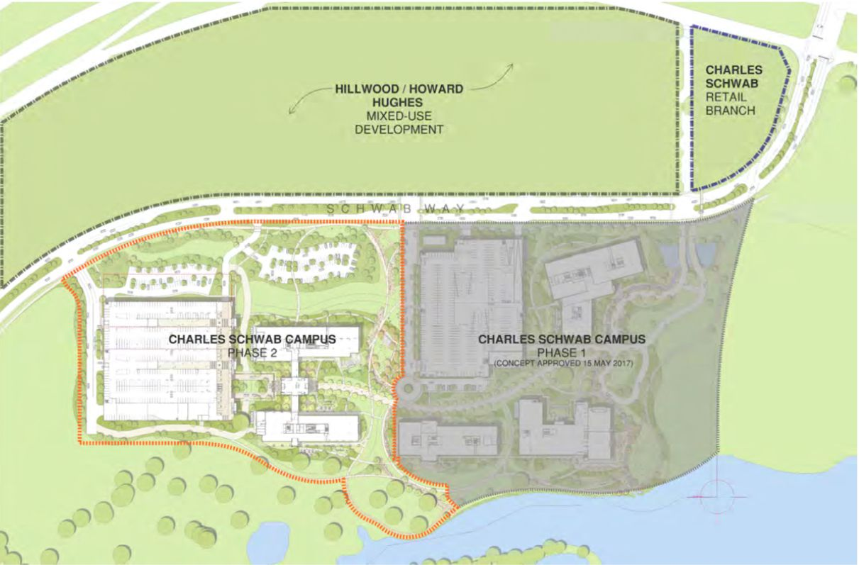 Plans filed with the town of Westlake show that Charles Schwab plans to double the size of its regional campus.