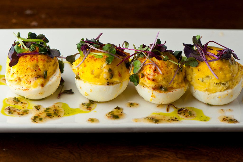 Del Frisco's Grille's Thanksgiving menu includes deviled eggs with truffle-chive vinaigrette.