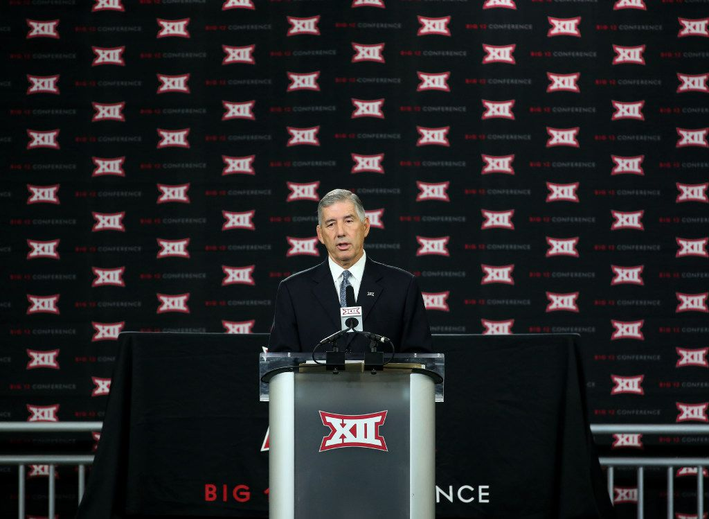 FILE - Big 12 Commissioner Bob Bowlsby speaks during Big 12 Football Media Days in the Ford Center at The Star in Frisco, Texas on Monday, July 17, 2017. (Rose Baca/The Dallas Morning News)